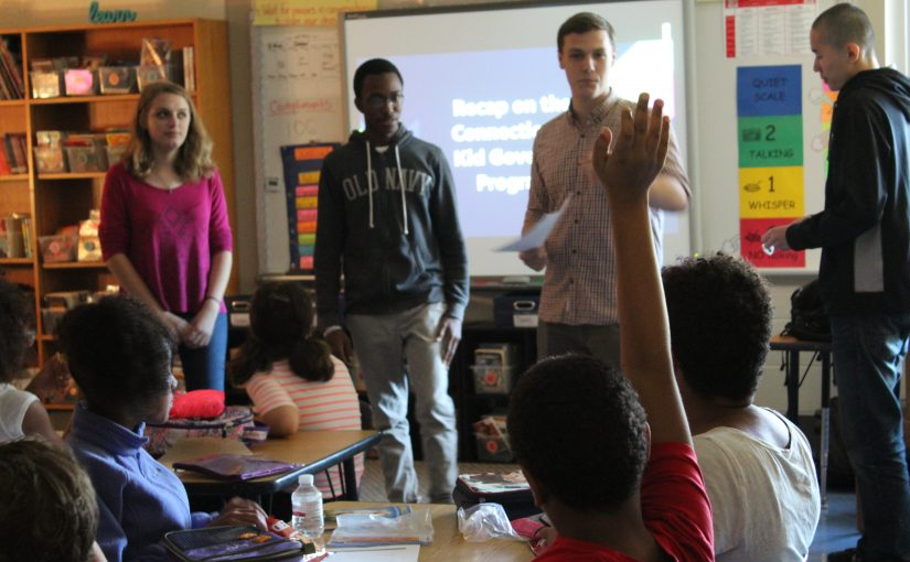 Four high school students teach a CTKG lesson to 5th graders in Windsor, CT.